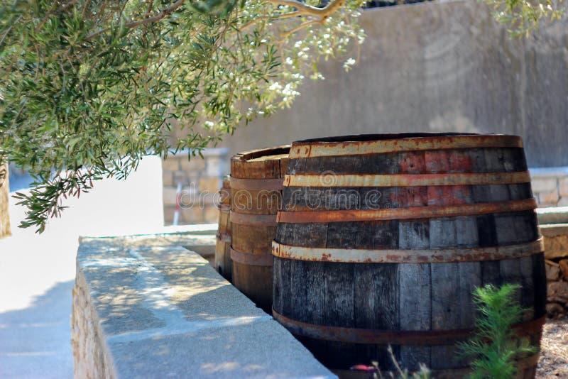 Vecchi barilotti di vino come decorazione dell'iarda immagini stock libere da diritti