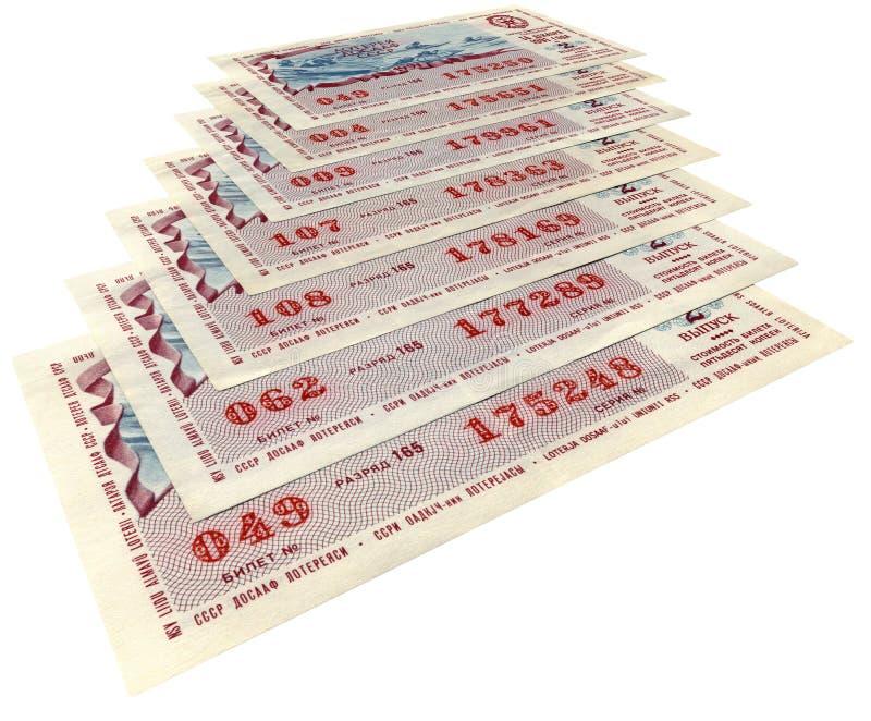 Vecchi biglietti di lotteria sovietici, concetto di rischio, immagine stock