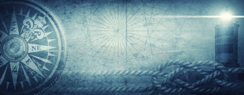 Vecchi bussola del mare, faro e nodo del mare sul fondo astratto della mappa Pirata, esploratore, viaggio e lerciume nautico di t immagini stock