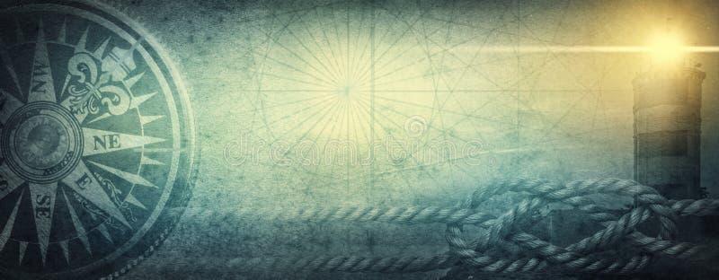 Vecchi bussola del mare, faro e nodo del mare sul fondo astratto della mappa Pirata, esploratore, viaggio e lerciume nautico di t immagine stock