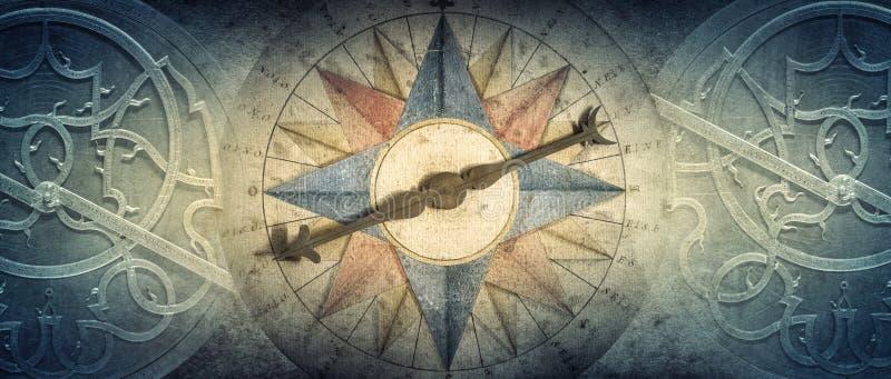 Vecchi bussola e astrolabio - dispositivo astronomico antico su fondo d'annata Vecchio fondo concettuale dell'estratto su storia, fotografia stock