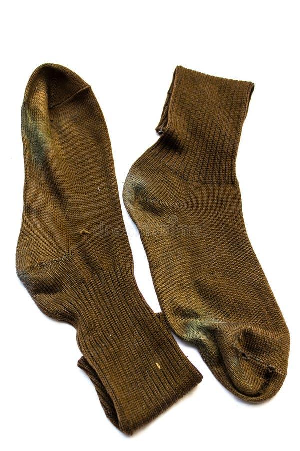 Vecchio Brown calzino di due fotografia stock libera da diritti