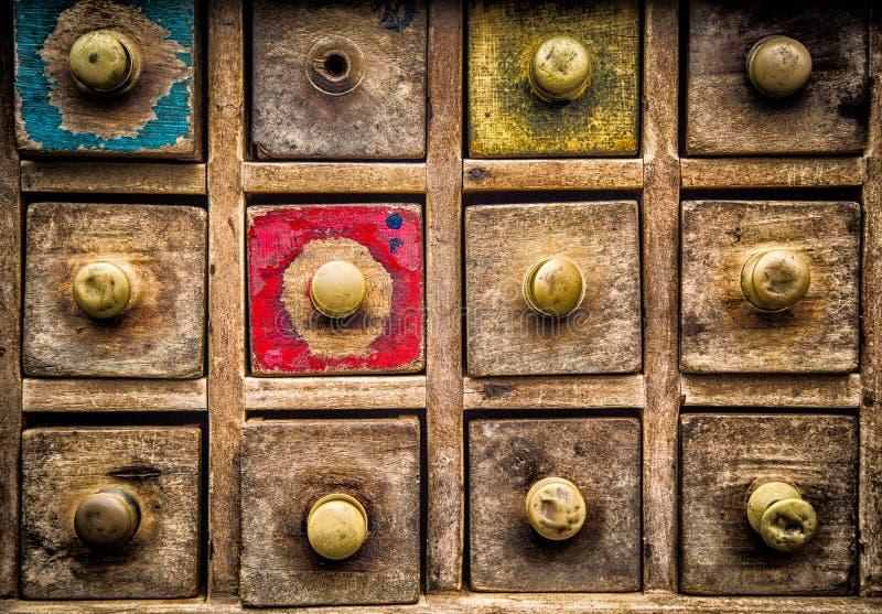 Vecchi cassetti di legno fotografia stock libera da diritti