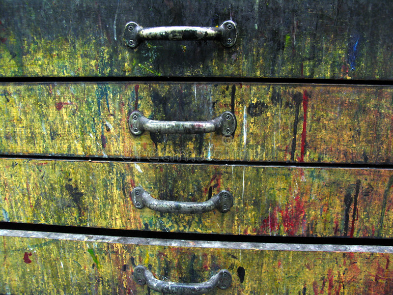 Vecchi cassetti variopinti fotografia stock libera da diritti