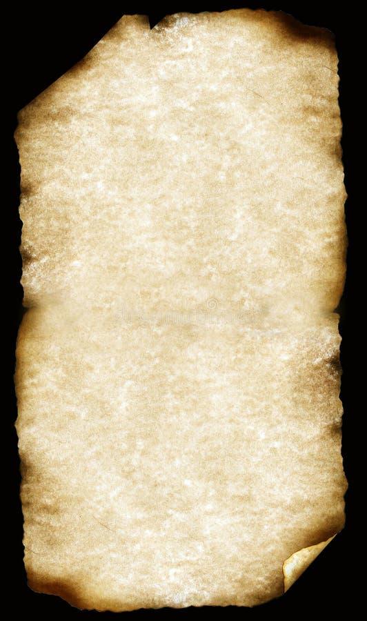 Vecchi documenti con i bordi bruciati fotografia stock