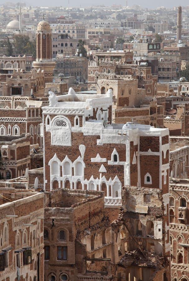 Vecchi edifici di Sanaa fotografie stock libere da diritti