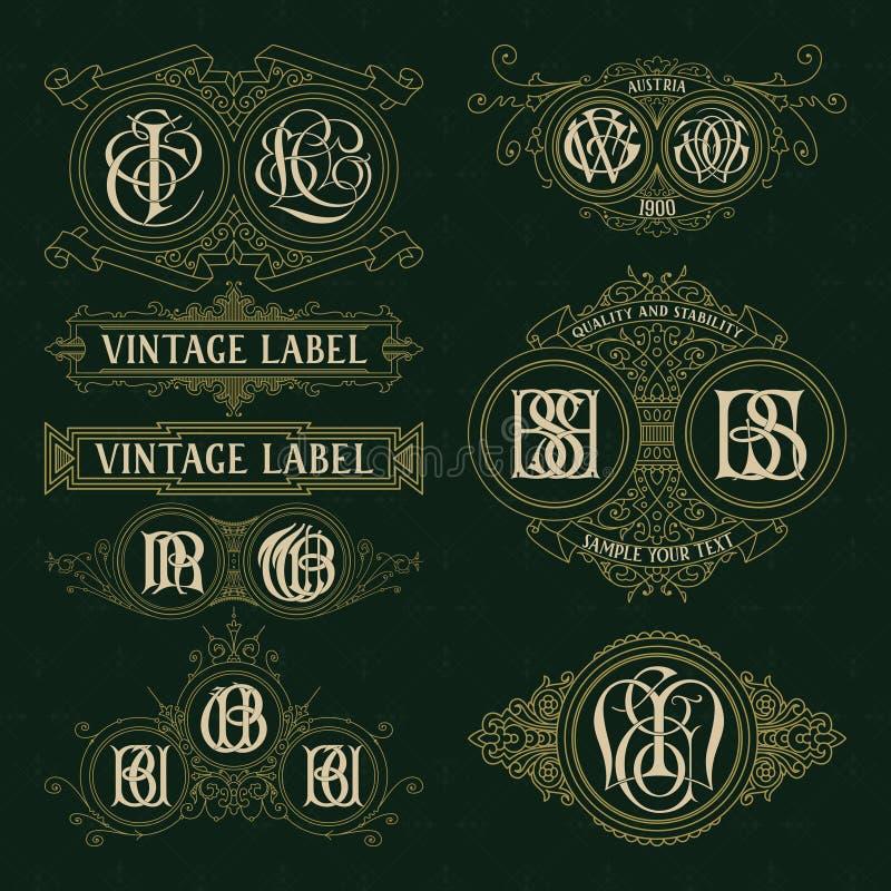 Vecchi elementi floreali d'annata - nastri, monogrammi, bande, linee, angoli, confine, struttura, etichetta, logo illustrazione vettoriale