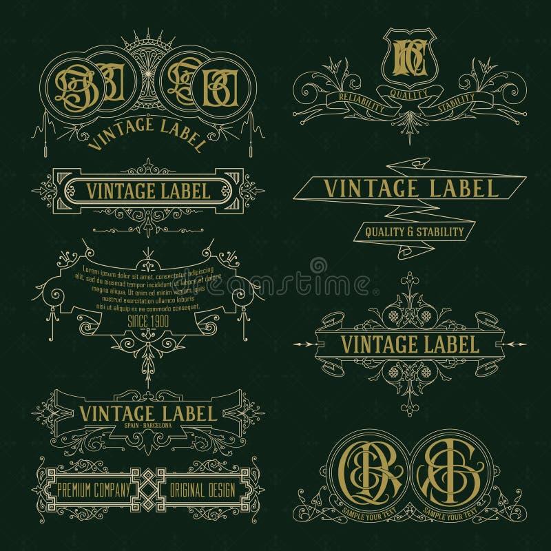 Vecchi elementi floreali d'annata - nastri, monogrammi, bande, linee, angoli, confine, struttura, etichetta, logo royalty illustrazione gratis