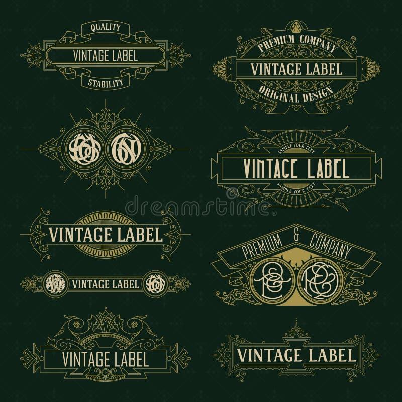Vecchi elementi floreali d'annata - nastri, monogrammi, bande, linee, angoli, confine, struttura, etichetta, logo illustrazione di stock