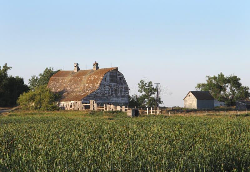 Vecchi granaio e cortile di legno fotografia stock libera da diritti