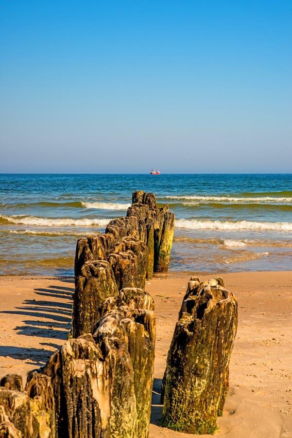 Vecchi inguini nel Mar Baltico con cielo blu immagini stock