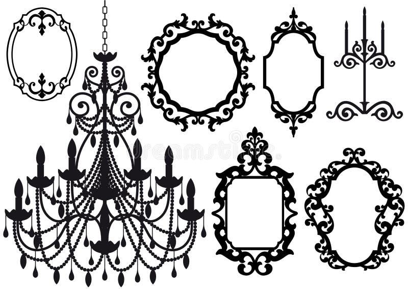 Vecchi lampadario a bracci e cornici illustrazione vettoriale
