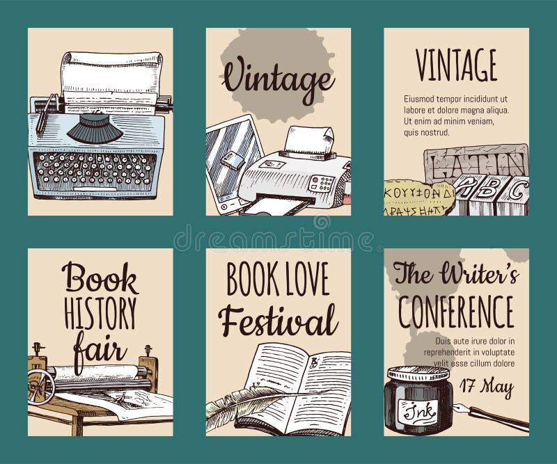 Vecchi libri con la penna della piuma di spoletta dell'inchiostro e l'insieme del calamaio delle carte o dell'illustrazione di ve royalty illustrazione gratis