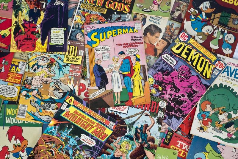 Vecchi libri di fumetti d'annata del fumetto fotografie stock libere da diritti