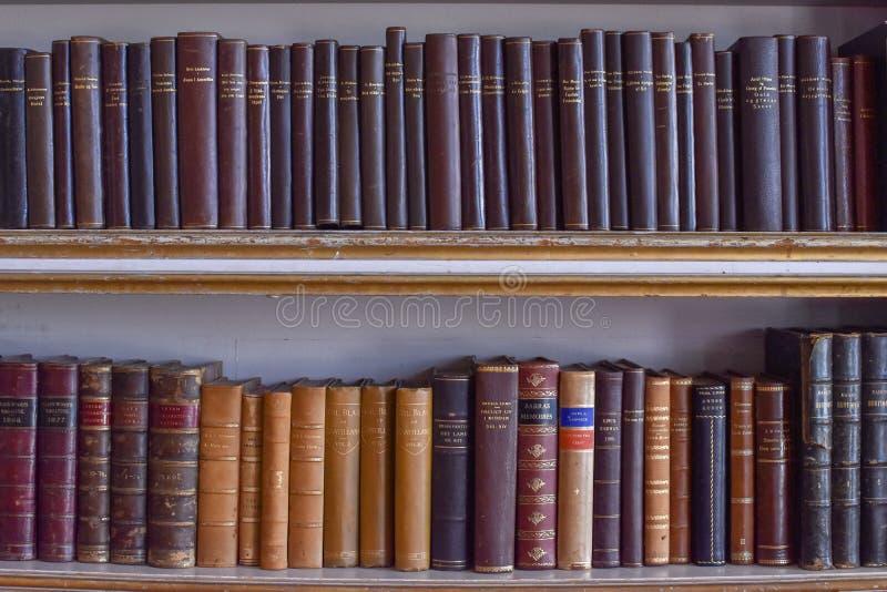 Vecchi libri su una mensola immagini stock