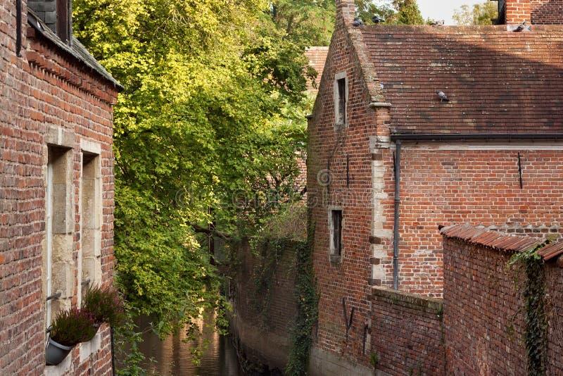 Vecchi monumenti storici in Groot Begijnhof di Lovanio fotografia stock libera da diritti