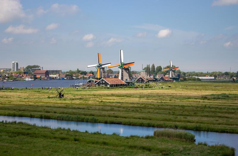 Vecchi mulini a vento e fiume olandesi in villaggio storico Mulini dell'Olanda nella vista panoramica del campo Paesaggio rurale  immagine stock libera da diritti
