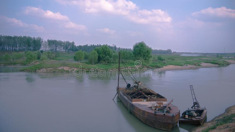 Vecchi navi e fiume Huaihe fotografie stock