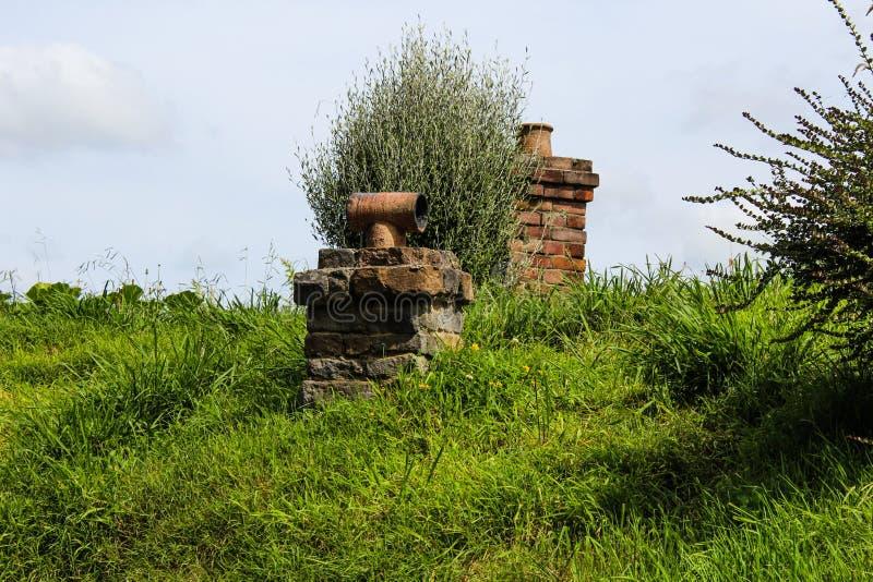 Vecchi portone e percorso dell'azienda agricola in Nuova Zelanda fotografia stock
