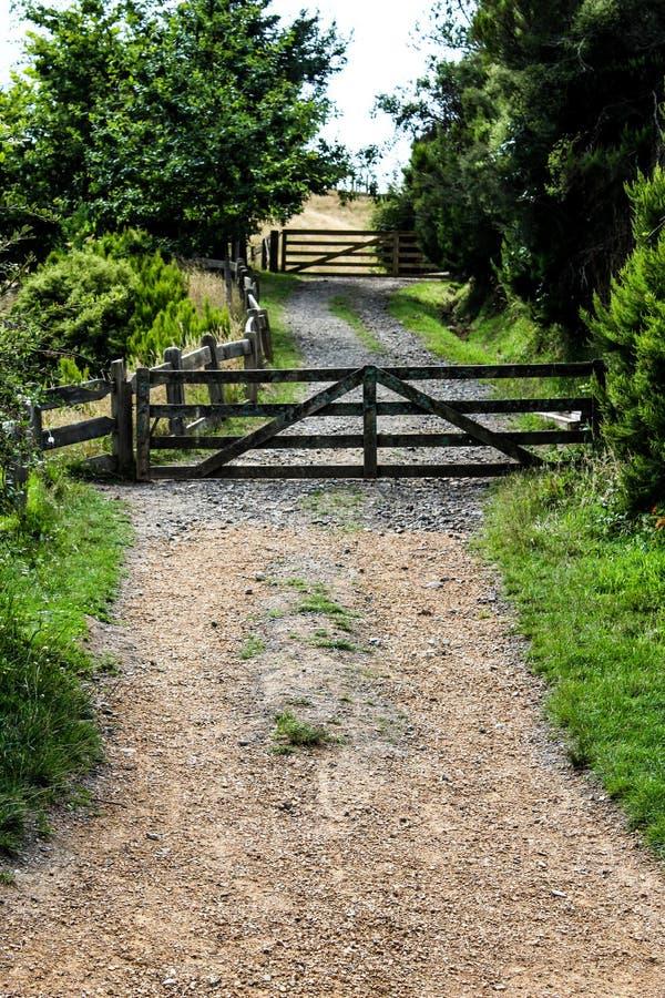 Vecchi portone e percorso dell'azienda agricola in Nuova Zelanda fotografia stock libera da diritti