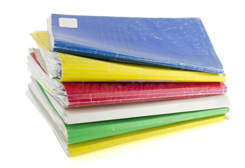 Vecchi retro archivi colorati di carta immagine stock libera da diritti