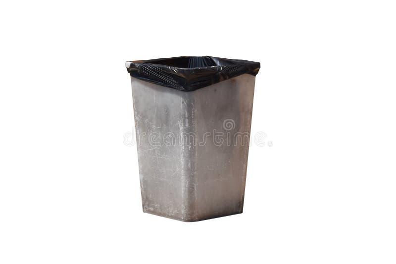 Vecchi rifiuti bianchi dei recipienti senza coperchio, isolato su fondo con il percorso di ritaglio immagini stock