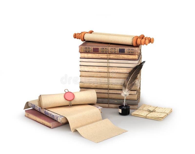 Vecchi rotoli, lettere, libri e calamaio con un'illustrazione della piuma 3d illustrazione di stock