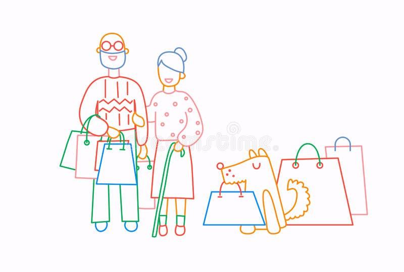 Vecchi sacchetti della spesa della tenuta del cane e delle coppie con gli acquisti Linea illustrazione di vettore di stile del fu illustrazione vettoriale