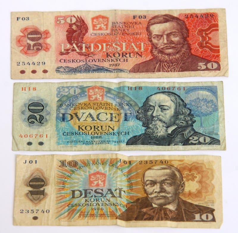 Vecchi soldi cechi immagini stock