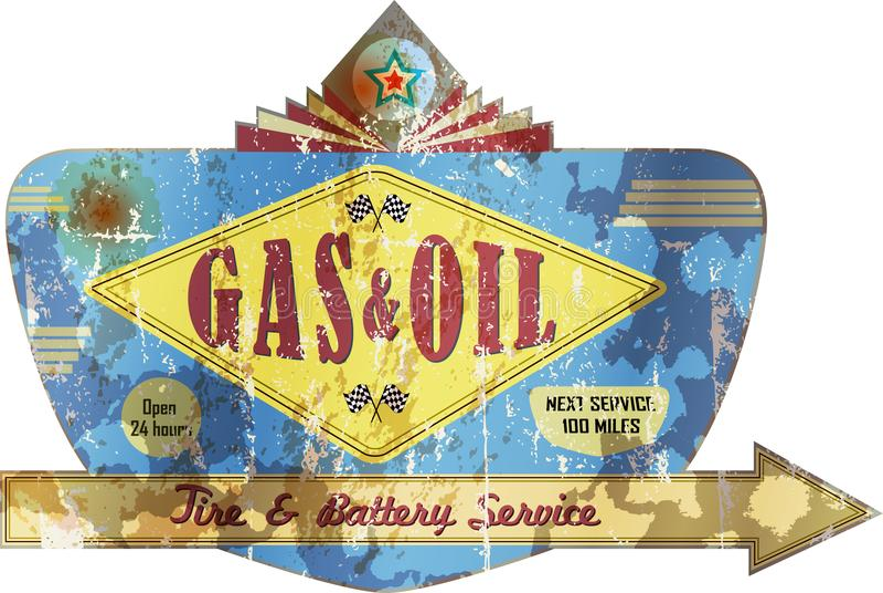 Vecchi stazione di servizio di U.S.A. e cartellone pubblicitario stagionati del garage, illustrazione vettoriale
