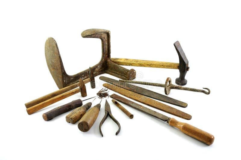 Vecchi strumenti del calzolaio fotografia stock