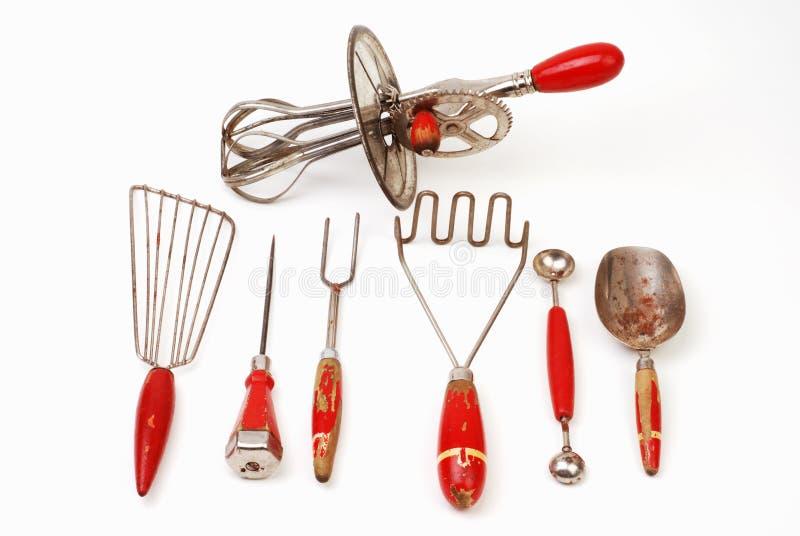 Vecchi utensili di cottura immagine stock