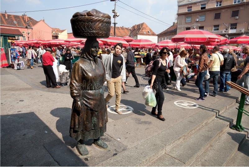 Vecchi verdure e mercato di frutta a Zagabria fotografia stock libera da diritti