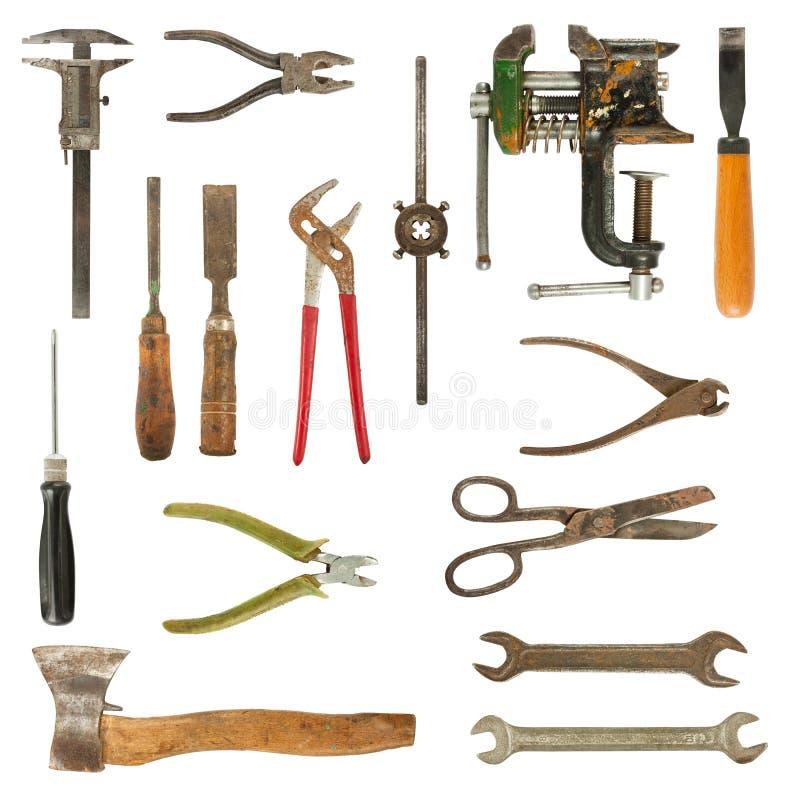 Vecchia accumulazione usata degli strumenti immagine stock