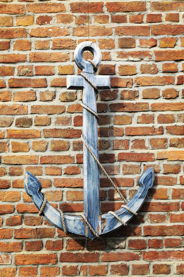 Vecchia ancora di legno d'annata della nave, retro ancora di legno fotografie stock libere da diritti