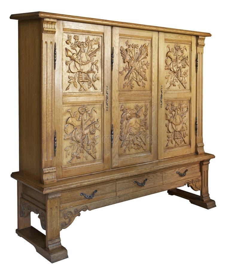 Vecchia apprettatrice di legno classica con il woodcarvi handmade fotografie stock libere da diritti