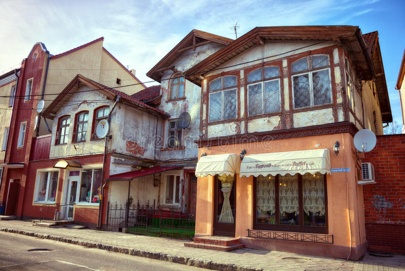 Vecchia architettura tedesca, paesaggio della via della città Zelenogradsk immagini stock libere da diritti