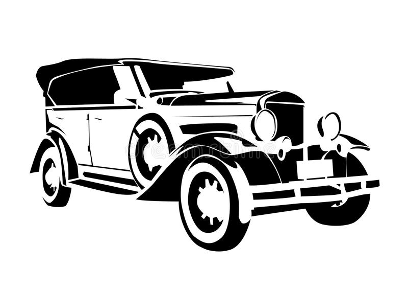 Vecchia automobile dell'annata illustrazione di stock