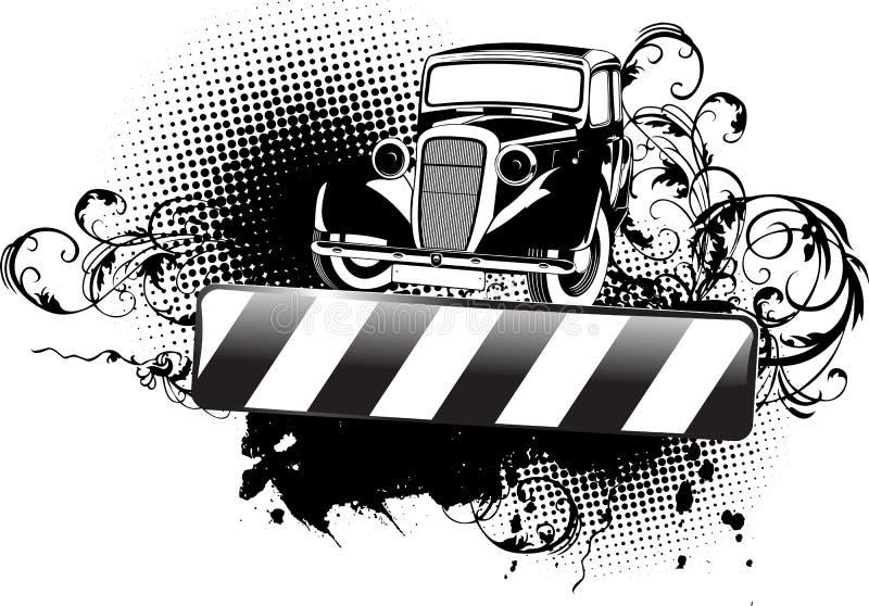 Vecchia automobile della fattoria in bianco e nero illustrazione di stock