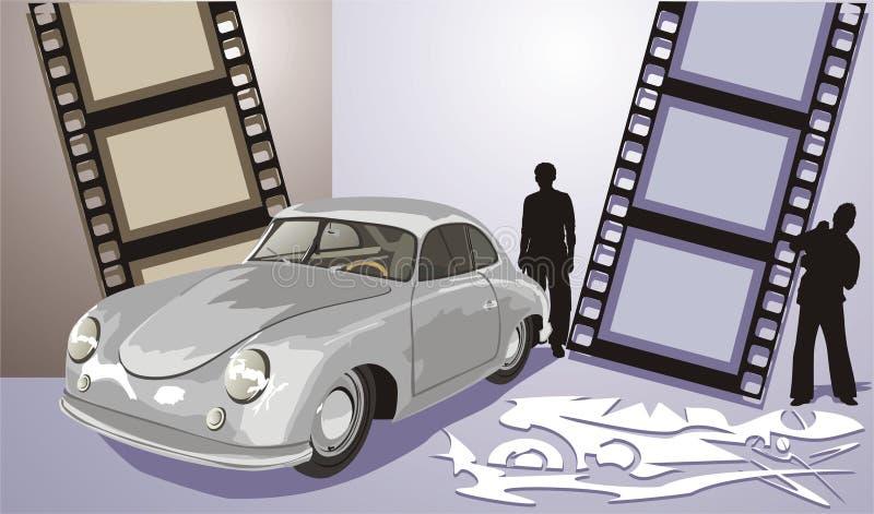 Vecchia automobile di colore grigio royalty illustrazione gratis