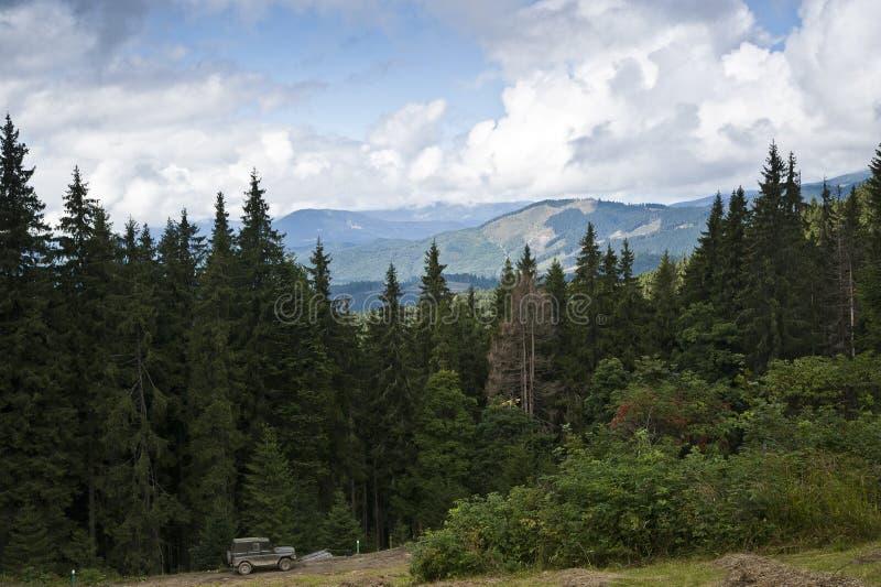Vecchia automobile vicino alla foresta attillata nelle montagne carpatiche immagine stock