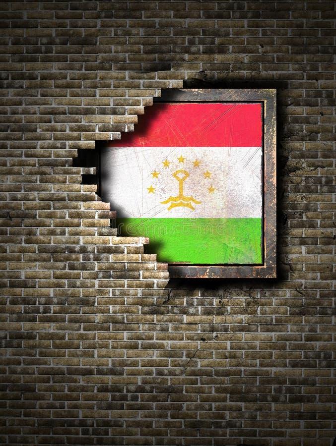Vecchia bandiera del Tagikistan in muro di mattoni royalty illustrazione gratis