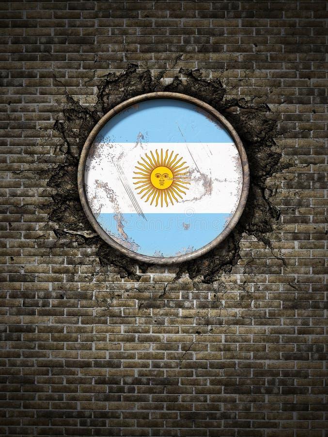 Vecchia bandiera dell'Argentina in muro di mattoni illustrazione di stock