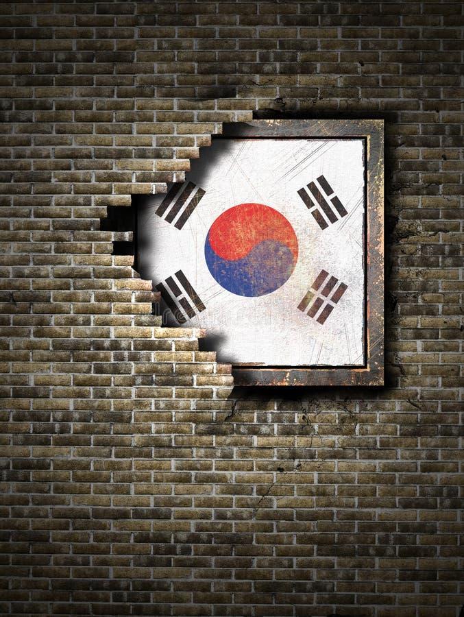 Vecchia bandiera della Corea del Sud in muro di mattoni illustrazione vettoriale