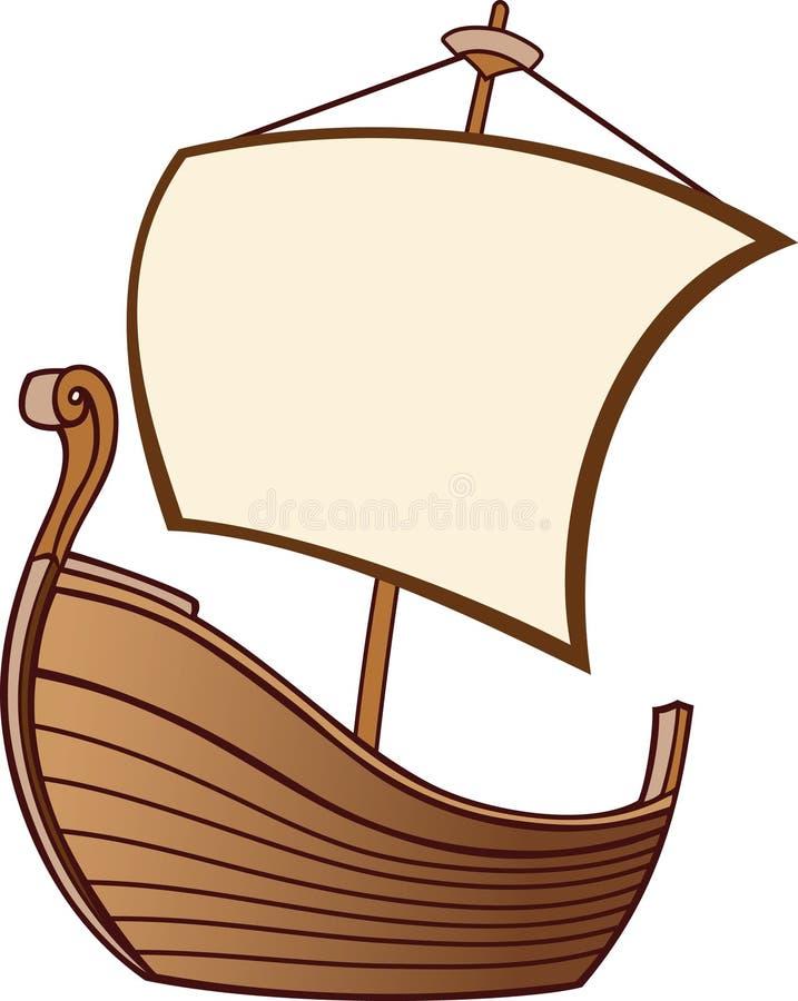 Vecchia barca con una vela illustrazione di stock