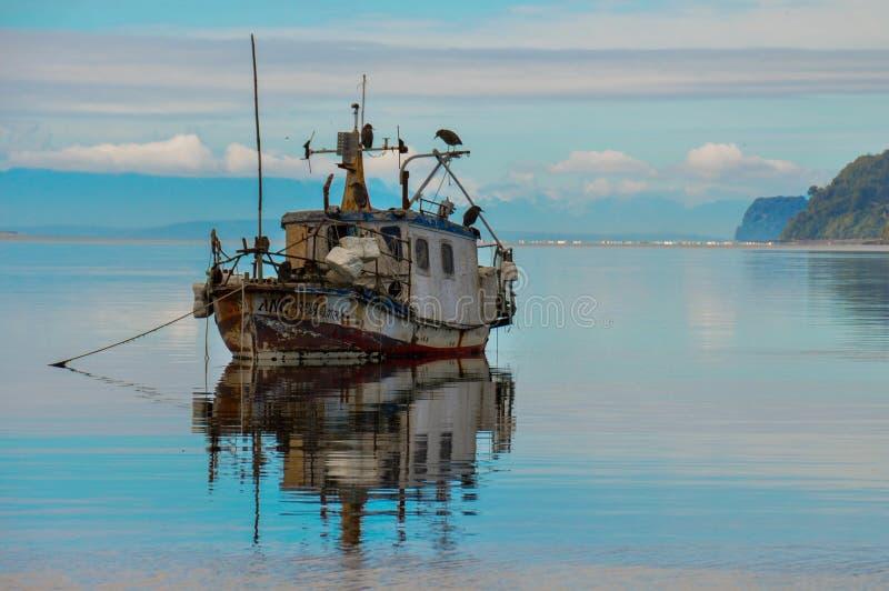 Vecchia barca di legno, isola di Chiloé, Cile immagini stock