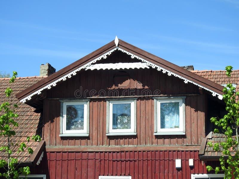 Vecchia bella casa in Silute, Lituania fotografia stock libera da diritti