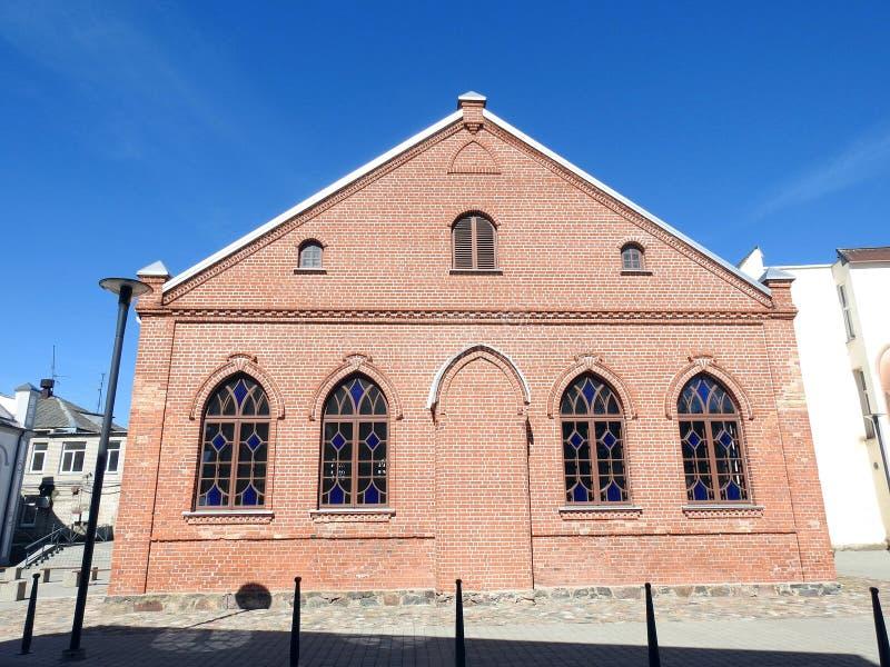 Vecchia bella sinagoga degli ebrei lithuania fotografia stock libera da diritti