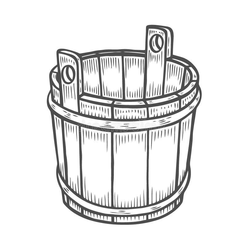 Vecchia benna di legno illustrazione di stock