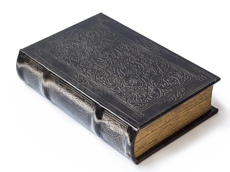 Vecchia bibbia isolata su un fondo bianco fotografie stock libere da diritti
